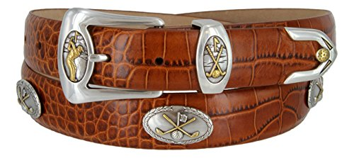 [Bayside- Italian Calfskin Leather Designer Dress and Golf Belt For Men (ATAN,50)] (3 Piece Leather Concho Belt)