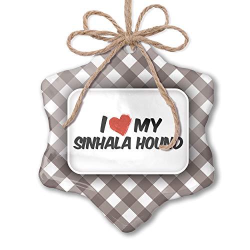 NEONBLOND Christmas Ornament I Love My Sinhala Hound Dog from Sri Lanka Grey White Black Plaid