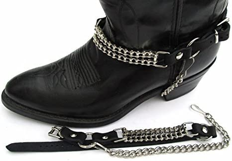 WESTERN BOOTS BOOT CHAINS BLACK TOPGRAIN COWHIDE LEATHER WITH 2 STEEL CHAINS