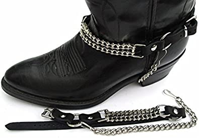 BIKER BOOTS BOOT CHAINS  BLACK TOPGRAIN COWHIDE LEATHER WITH METAL RINGS