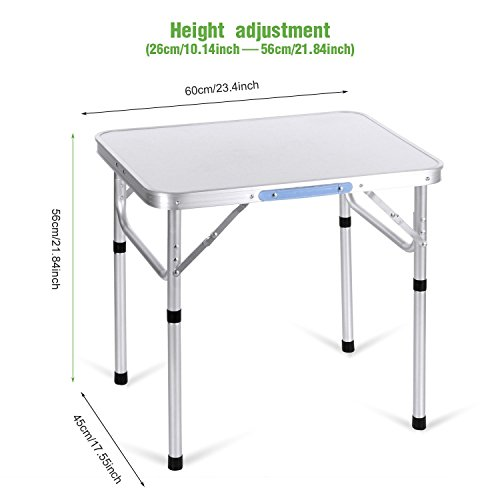 Kaluo 2ft Aluminum Portable Camping Folding Camp Table with Carrying Handle (Sliver) by Kaluo