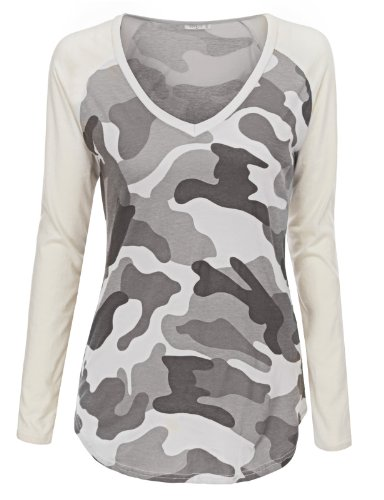 Doublju Women Stylish Colorblocked Long Sleeve Top GRAY,L