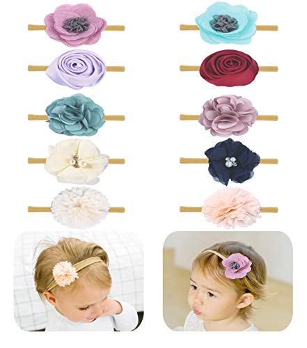 (Baby Girl Headbands Bows flowers,10 Pack Hair Accessories for Newborn Infant Toddler Gift by FANCY CLOUDS (floral))
