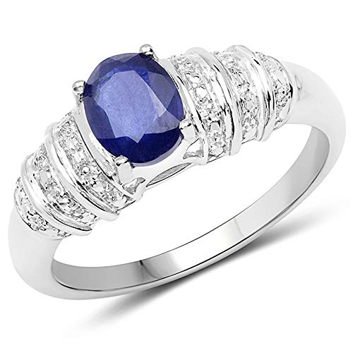 Bonyak Jewelry Genuine Oval Kyanite Ring in Sterling Silver - Size 10.00