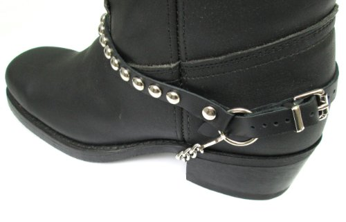 Biker Boots Boot Chains Black Leather with Round Silver Studs