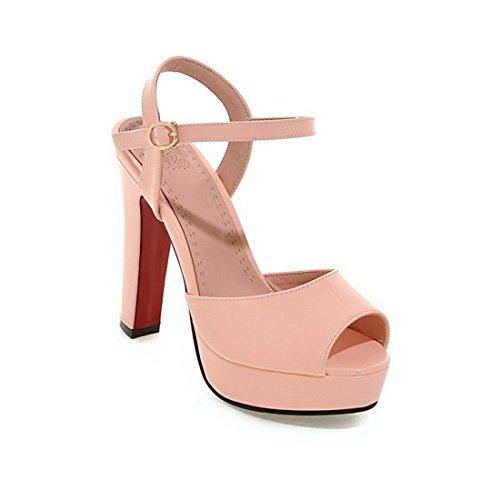 Sandalias Mujer/Sandalia con Pulsera para Mujer/Las Mujeres Americanas y Europeas del Calzado Impermeable Solo Números Grandes Sandalias de Pintura Pink