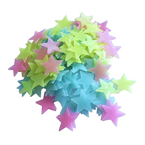 Night Light,Crytech 50/100Pc Fluorescent Glow in The Dark Stars Wall Stickers Lights Wall Decor House Decoration for Kids Girls Boys Bedroom (Multicolor, 50 Pcs)
