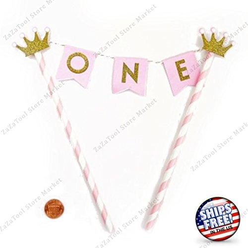 ZaZaTool - 1 Year Pink Gold Old Happy Birthday Cake Topper Flag Banner Smash Cake Crown