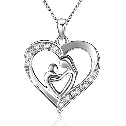 Mother Child Heart Necklace - Sterling Silver Mother and Child Love Heart Pendant Necklace,Box chain 18'