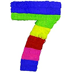 LYTIO - Multicolor Paper 3D Numbers Pinata (Piñata) – Great for Any Party, Décor, Photo Prop. (Seven)