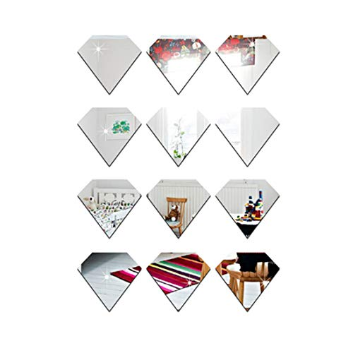 UINKE Geometric Diamond Shape 3D Mirror Wall Stickers Removable DIY Acrylic Wall Decor for Living Room Bathroom Dining Room,Silver by UINKE (Image #1)