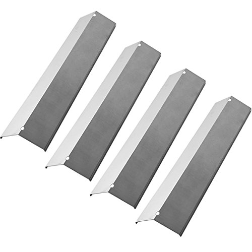 YIHAM KS752 Gas Grill Replacement Parts for Brinkmann, Aussie, Uniflame, Charmglow, BBQ Stainless Steel Heat Shield Plate Tent, Flame Tamer Burner Cover, 15 3/8 inch x 3 15/16 inch, Set of 4