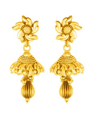 f66565aff Buy Voylla Gold Plated Jhumki Earrings for Women (8907617418360) Online at  Low Prices in India