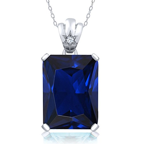 Octagon Blue Sapphire - 17.55 Ct Octagon Blue Simulated Sapphire 925 Sterling Silver Pendant