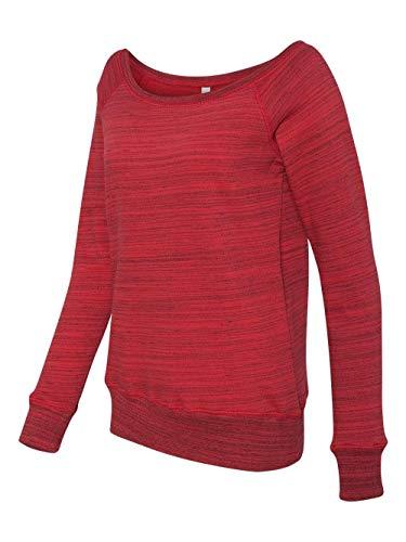 (Bella Canvas Ladies' Sponge Fleece Wide Neck Sweatshirt - RED MARBLE FLC - 2XL)
