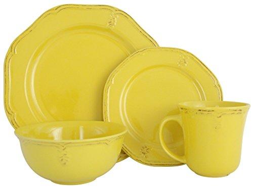 - Melange Stoneware 16-Piece Dinnerware Set (Antique Sunflower) | Service for 4| Microwave, Dishwasher & Oven Safe | Dinner Plate, Salad Plate, Soup Bowl & Mug (4 Each)