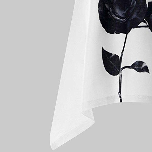 Manches Shirt t Lady Irrgulier Dbardeur Florale T Vest Sexyville Femme Impression Blanc Tops Chemisier Femme Top Gilet Sans Hem Camisole qwxEOnfpY