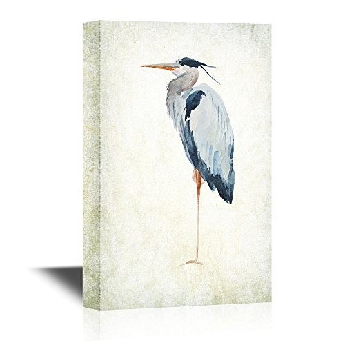 - wall26 Canvas Wall Art - Heron Bird - Wild Animal- Gallery Wrap Modern Home Decor | Ready to Hang - 24x36 inches