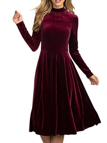 Knee Length Velvet Dress - Women Retro Vintage Caged Neck Velvet Long Maxi Party Dress