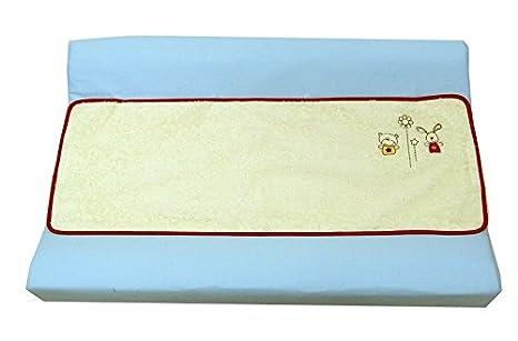 Cambiador bebe, Funda bañera Bordado ANIMALITOS. Color AZUL. Medida 80x53 cm. Desenfundable