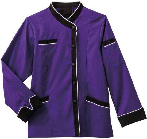 - Five Star Chef Apparel Ladies Long Sleeve Executive Coat with Moisture Wicking Mesh Back (Purple, Medium)