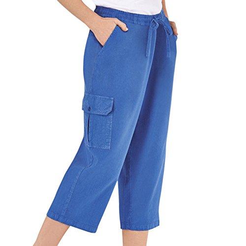 Women's Elastic Waist Cargo Pocket Capri Pant, Royal Blue, Small