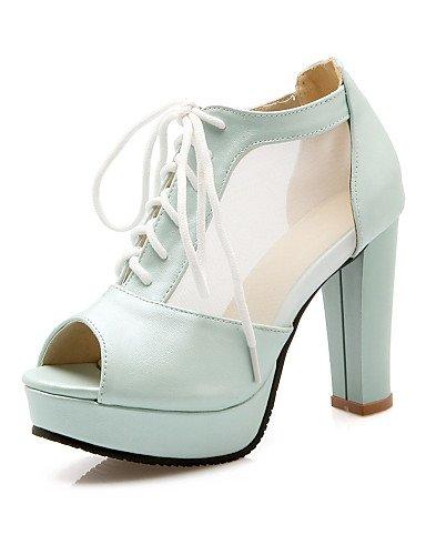 LFNLYX Zapatos de mujer-Tacón Robusto-Tacones / Punta Abierta / Plataforma-Sandalias-Vestido / Fiesta y Noche-Semicuero-Negro / Azul / Rosa / White