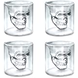 Set of 4 Transparent Crystal Skull Shot Glasses