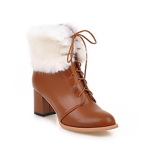 Brown Women's Material Boots Toe up Round Heels Kitten Soft Closed Solid AgooLar Lace SqxO7w6O