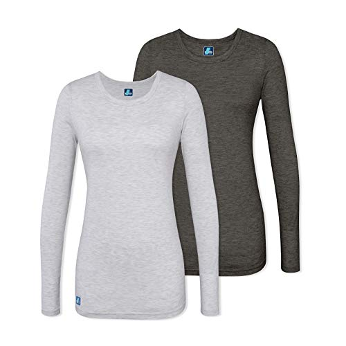 - Adar 2 Pack Women's Comfort Long Sleeve T-Shirt/Underscrub Tee - 2902 - Heather Charcoal/Marl Grey - L