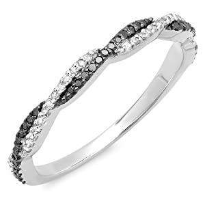 0.25 Carat (ctw) 18k Gold Round Black & White Diamond Ladies Wedding Band Swirl Stackable Ring 1/4 CT
