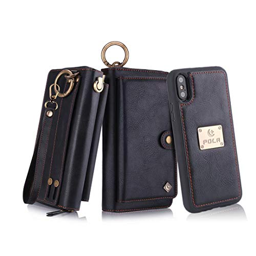 Petocase Compatible iPhone XS Max Wallet Case, Multi-Functional PU Leather Zip Wristlets Clutch Detachable Magnetic 13 Card Slots 4 Cash Purse Protection Back Cover for Apple iPhone 10S Max 6.5