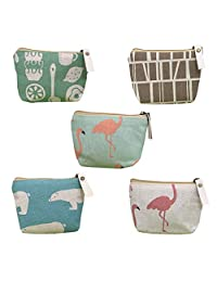 KWJOY Set of 4 Animal Canvas Change Coin Purse Wallet Bag Gift,Small Cute Coin Purse for Women,Girls,Whale, Polar Bear, Hedgehog and Tree