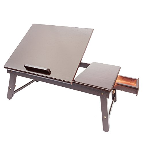 Tenozek Retro Plain Design Adjustable Bamboo Lap Desk Tray Dark Coffee by Tenozek (Image #1)