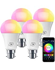 HaoDeng WiFi LED Light, 4Pack Smart Bulb -Timer& Sunrise& Sunset- Dimmable, Multicolor, Warm White (Color Changing Disco Ball Lamp) - 7W A19 B22(55W Equivalent), Compatible with Alexa, Google Home Assistant and IFTTT