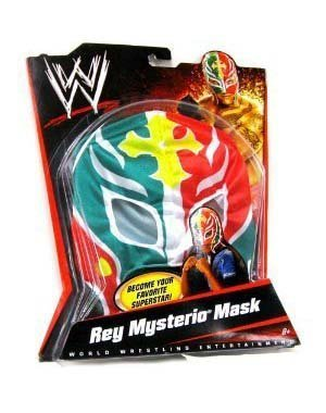 (WWE Wrestling Rey Mysterio Mask - Green, Red, with Yellow Cross & White)