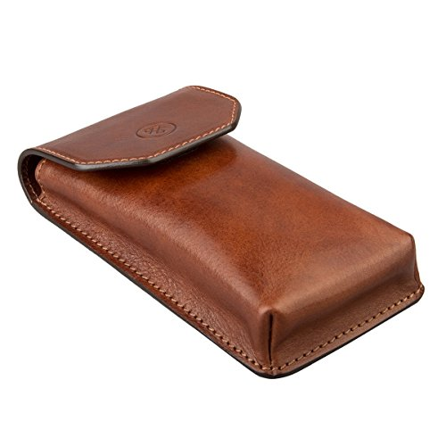 Maxwell Scott® Luxury Italian Men's Leather Glasses Case (Gabbro), Tan