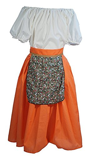 Dance-Panto-Chorus-Solo-Heidi Orange Villager Girl Costume Set Blouse-Skirt-Pinny - All Ages (Age 11-13) -