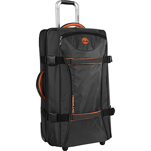 (Timberland Wheeled Duffle Bag - 26 Inch Lightweight Rolling Luggage Travel Bag Suitcase for Men, Black/Burnt Orange)