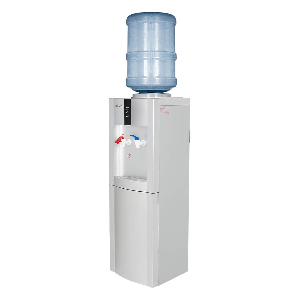 ROVSUN Top Loading Water Cooler Dispenser Stand with Hot & Cold Drinking Water 5 Gallon, Storage Cabinet, Child Safety Lock, Perfect for Office Home