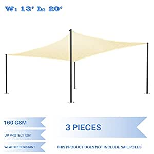 E&K Sunrise 13' x 20' Beige Sun Shade Sail Square Canopy - Permeable UV Block Fabric Durable Patio Outdoor Set of 3