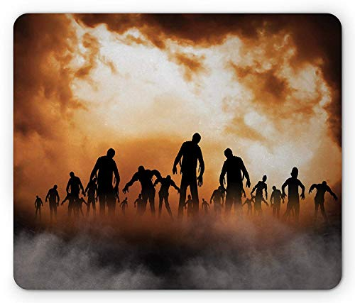 shirnaile_2ee Halloween Mouse Pad, Zombies Dead Men Walking Body in The Doom Mist at Night Sky Haunted Theme Print, Standard Size Rectangle Non-Slip Rubber Mousepad, Orange Black
