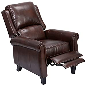 Giantex Leather Recliner Accent Chair Push Back Living Room Home Furniture W Leg