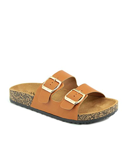 Soft Cork Slides Sandal Double Adjustable Buckle Strap Slip on Summer Shoes Tan 11 ()