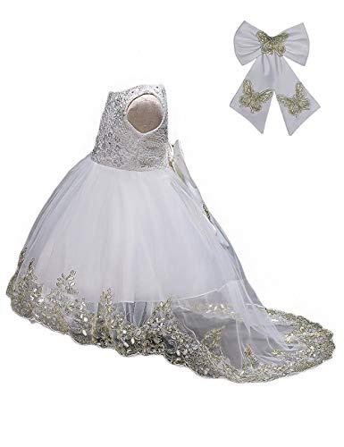 21KIDS Flower Girls Sequin Lace Tulle Dress Kids Wedding Princess Pageant Long Sleeve Dresses