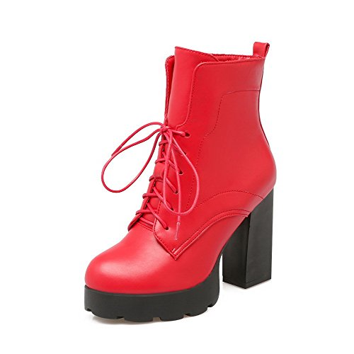 Allhqfashion Women's Solid High-Heels Round Closed Toe PU Lace-up Boots Red A7kbKP6d