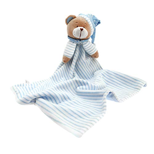 Huggybuddy Stuffed Animal Plush Security Blanket Lovey Bear Blanket Best Gift for Newborn/Infant (Blue, 14.6