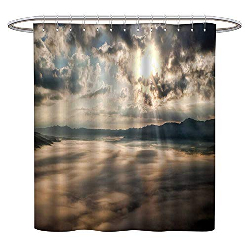 Jiahonghome Mildew Resistant Fabric Shower Curtains Sunlight Passing Through The Clouds Repellant Non Toxic Decor W 72 x L 84 INCH ()