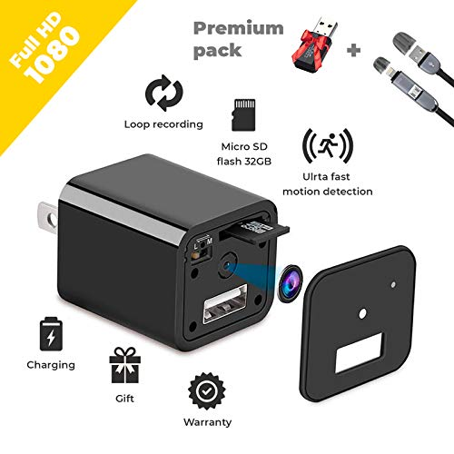 Spy Camera – HD 1080P Hidden Camera USB Wall Charger – Premium Pack – USB Hidden Cameras – Best Mini Spy Camera Charger Wireless Video Recorder Home Security System – Motion Detector Nanny Camera
