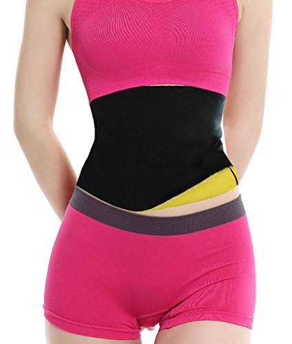 hot sweat shaper waist-trimmer compression slimming shirt for women men (S, Yellow)